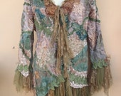 """20%OFF vintage inspired extra shabby jacket in woodland pixie hues ... medium to 42"""" bust"""