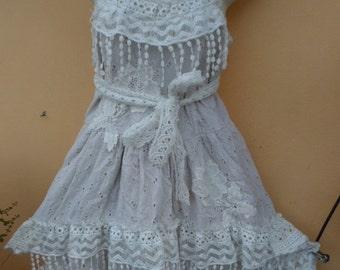 "20%OFF lagenlook bohemian gypsy wedding bridesmaid formal hippy cotton vintage dress...medium to 38"" bust..."