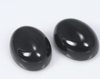 2 pcs 14 X 18 x 9 mm Black Obsidian high dome eye oval shape cabochon loose semi precious gemstones cabochons  140CB