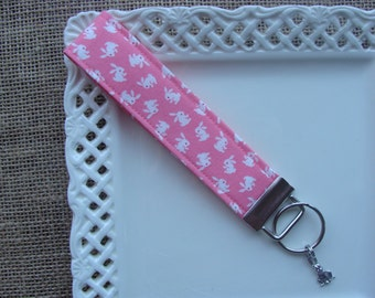 BUNNY Wristlet /  Key Chain with CHARM - Somebunny Loves You on Pink