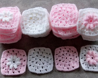 """Lot 50 Granny Squares Pink & White- Baby Afghan Flowers, 3"""" squares"""