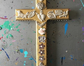Hammered metal milagros on gold wooden cross / mexican craft  // OOAK art / Mexican Love heart wedding gift