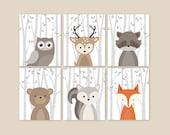Forest Animals, Birch Branches Animal Nursery Art Prints Woodland Nursery Decor, Baby Room Decor Set of 6 Owl Deer Raccoon Bear Squirrel Fox