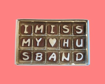 Husband Gift Long Distance Hubby Funny Valentines I Miss My Husband Cubic Chocolate Letters Fun Cute AK APO Canada Uk International Shipping