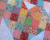 Heart Baby Quilt Vintage Inspired Scrappy Patchwork Table Topper Ready to Ship 30X30