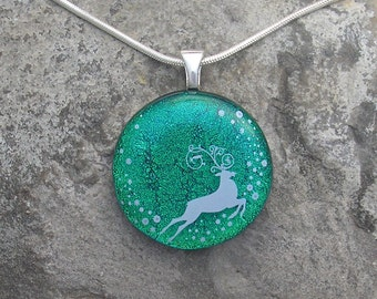 Reindeer Necklace Fused Dichroic Glass Christmas Pendant