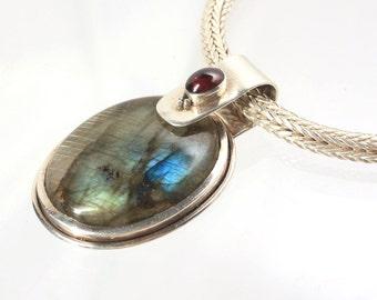 Labradorite Pendant, Sterling Silver, Garnet Necklace, Heavy, Bold, Sterling Chain, Statement Necklace, Runway Necklace, Vintage Silver