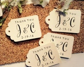 50 MINI RUSTIC INITIALS Personalized  Wedding Favor tags