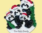Panda Bear Family of 4 HAND PAINTED RESIN Personalized Christmas Ornament
