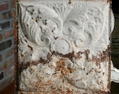 """12"""" Antique Tin Ceiling Tile -- Rusty Cream Colored Paint - Beautiful Deeply Embossed Floral Design"""