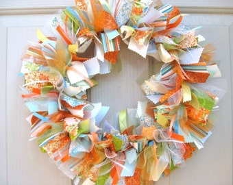 Summer Wreaths, Fabric Ribbon Wreath, Summer Door Wreath, Wreath for Summer, Summer Door Decor, Rag Wreath