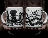 The Kraken Mug - 11 OZ Coffee mug, tea mug, octopus, nautical, ceramic, stoneware, dishwasher microwave safe, Linocut, print making, clay