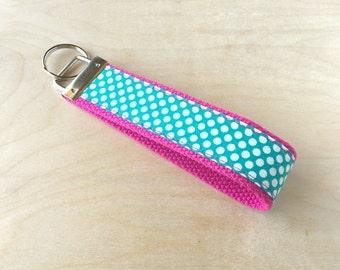 Fabric wristlet keychain, key fob - Teal Dot