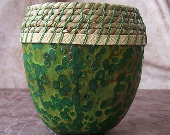 Medium short green warty gourd bowl. 1897.