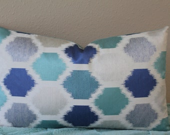 """NEW Ikat Print - 12"""" x 18"""" or 12"""" x 20"""" Lumbar Decorative Designer Pillow Cover - Turquoise, Lapis Blue, Light Grey and Off White"""