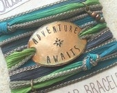 Adventure awaits, Wrap Bracelet- Boho Bracelet, silk wrap bracelet, boho jewelry- adventure awaits, bohemian jewelry, BOHO