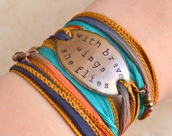 with brave wings she flies, wrap bracelet, Boho Silk Wrap Bracelet, boho wrap, bohemian, graduation gift, under 50