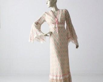 SALE vintage 70s maxi dress, calico long prairie dress