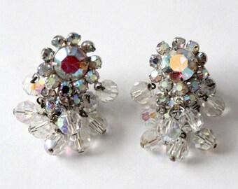 SALE 1950s rhinestone chandelier drop earrings