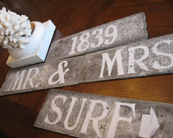 Custom Hand Painted Sign, Original One of A Kind, Created on Antique Slate Roof Tile Architectural Salvage Weathered Textured Patina OPTIONS