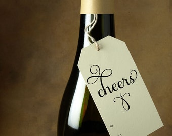 Cheers Tag, Holiday Gift Tag, Wine, Champagne - Size 2 x 3.5 inches, Package of 8