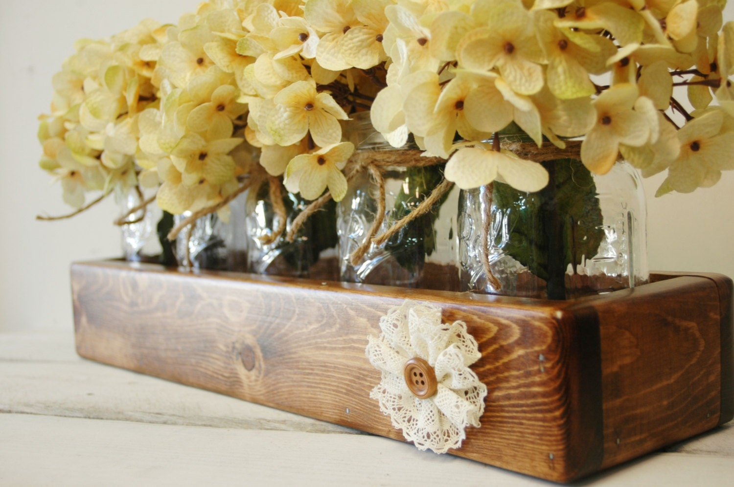 Rustic centerpiece wood mason jar box decor shabby