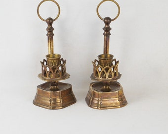 Vintage Brass Candlesticks Candle Holders Unique