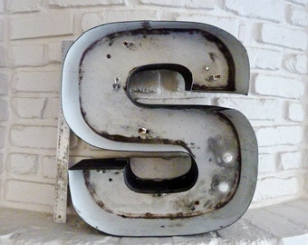 Industrial Salvaged Vintage Letter S