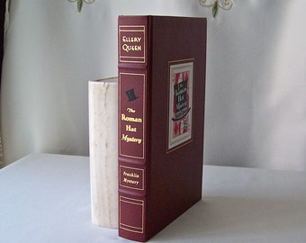 Vintage The Roman Hat Mystery Franklin Library Mystery Masterpieces Ellery Queen Hardcover Book 1989