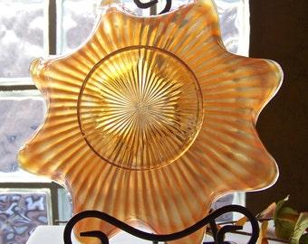 Vintage Northwood Carnival Glass Golden Iris Sun Burst Bowl Iridescent Fruit Bowl Serving Bowl ca 1907