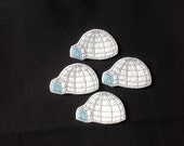 IGLOO Felt Embellishments / Appliques - Set Of 4 - Ready To Ship - Available Cut Or Uncut