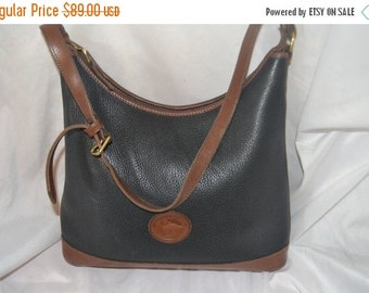 Summer Blow Out Dooney Bourke Dooney Bag~ Shoulder Bag~ USA Made Black & Chestnut