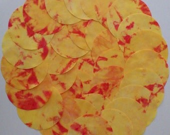 5 Inch Precut Fabric Circles, ORANGE & RED, 34 Hand Dyed Die-Cut Circles, 100% Cotton, Pre-Shrunk, Colorfast