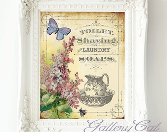 VINTAGE BATH Sign Digital Collage Sheet Instant Download for Bathroom Laundry Room Wall Art Iron on Transfers Scrapbooking GalleryCat #312