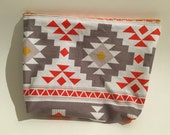 Large Tribal Print Makeup Bag- Cosmetic Case