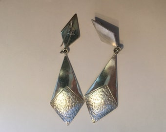 "4"" Long STERLING SILVER MODERNIST Geometric Earrings 23 Grams"