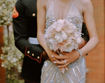 Bridal Bouquet, Feather Wedding Bouquet, Blush Bouquet, Vintage Wedding, Brooch Bouquet, Gatsby Wedding, Alternative Wedding Bouquet,