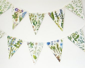Blue Wildflower Bunting, paper banner, Botanical Bunting, Flower Garland, paper bunting, up-cycled, wedding decoration, country decor