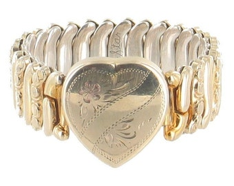 Vintage Gold Filled Deco Expansion Bracelet Sweetheart Heart NO Initials Co-Star