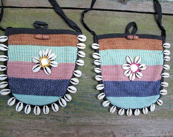 Cowrie Shell Bags-Pair of Handloom Shoulder Bags from India