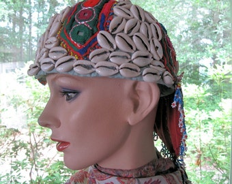 Tribal Nomad Hat with Shell, Bead Work and Mirror Work Handembroidery Work from Central Asia
