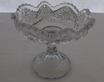 Vintage Compote, Clear Cut Glass Compote with Scalloped Edges, Pedestal Serving Bowl