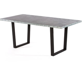 Zinc Table Zinc Dining Table - The Trenton  Zinc Dining Table