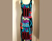 90s Tibal Club Dress/ vintage 90s maxi wiggle dress/ abstract tribal / tank style dress / 1990s rayon dress/ medium