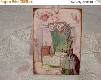 Christmas in July French Gift Tags, Vintage Style Gift Tags Marie Antoinette in her Bedroom Boudoir Gift Tags Boud001 ECS