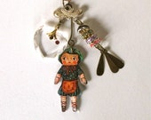 Doll Nathalie Lete  Charm - Mini Assemblage - Lucky Charm - Recycled Pieces - Boho Chic Pendant