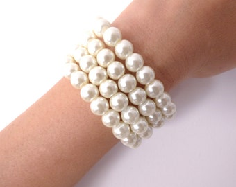 Flapper Accessories, Pearl Bracelet, Ivory, Pink Pearl, Evening Bracelet, Retro Bracelet, Roaring 20s, Great Gatsby ,Woman Jewelry Accessory