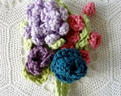 Crochet Boutonniere Pattern -crocheted roses, rose buds, lilac, flower brooch, crochet accessory, crochet pattern, wedding accessory
