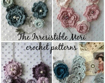 CROCHET PATTERN Discount Pack Irresistible Mori Crochet -#22 digital Patterns, crochet rose necklaces,crochet roses,mori jewelry irish roses