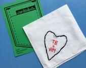 2nd Anniversary Gift Handkerchief Heart Embroidery Love Gift Cotton Gift Custom Handkerchief